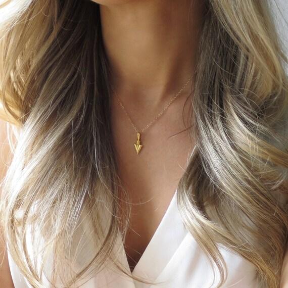 Tiny Gold Arrowhead Necklace