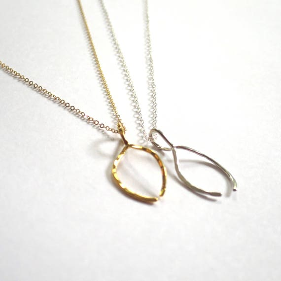 Gold or Silver Wishbone Necklace