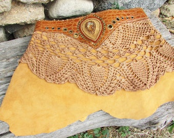 Tribal goddess mini skirt, fox brown leather, gemstone and rivets ornement, medieoval over skirt, wild warrior woman, primitive, trance