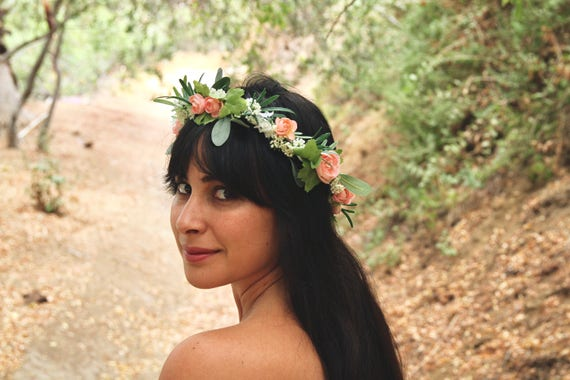 Flower Crown. Flower crown wedding. Green Flower Crown. Bridal Crown. Wedding crown. Pink Peonies Flower Crown. Flower crown adult.
