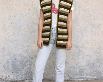 70's Handmade Crocheted Sweater Vest / Striped Brown Green Soft Knit Vintage Size Medium Large