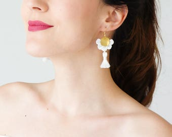 Summer Outdoors Tassel Earrings Summer Trends White Earrings Tassel Jewelry Statement Earrings Statement Jewelry Dangle Earrings / GALANI