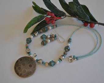 Petoskey Stone focal necklace set, aqua Czech glass beads,  sterling silver, Michigan necklace, Up North necklace