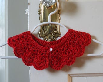 Red Collar for Little Girls. Peter Pan School Girl Style Lace Collar. Detachable