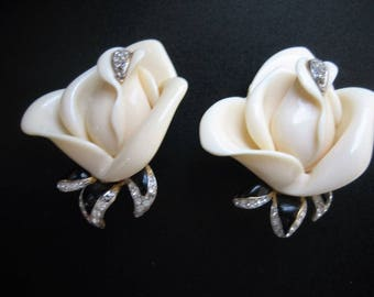KJL Kenneth Jay Lane White Rose Earrings with Crystals - Clip On - S2130