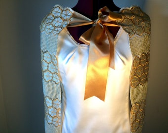 Gold and Cream Lace Cape (Cape only)