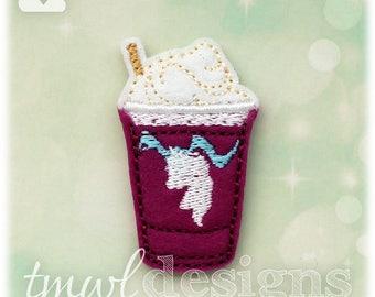 """Unicorn Frappe Drink Feltie Digital Design File - 1.75"""""""
