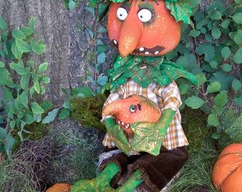 "OOAK art doll ""Sigismund "" Handmade doll OOAK doll Art doll Collectible doll Interior doll pumpkin Halloween"