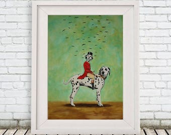 Dalmatian Print, dalmatian Illustration Art Poster Acrylic Painting Kids Decor, black and white, dog Gift,Dog on bicycle, surrealist art