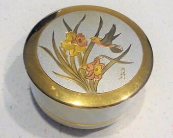 Art of Chokin Hummingbird Trinket Dish Jewelry Box Collectible Home Decor