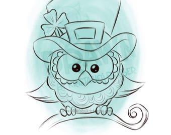 Leprechaun Owl- Digital Stamp Art/ KopyKake Image- SP70-LEPOWL