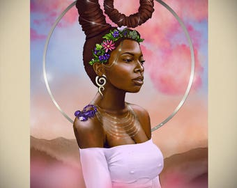 Scorpio Zodiac Afrofuturism African American Art Black Goddess Woman Natural Hair Dreadlocks Fantasy Illustration Print by Sheeba Maya