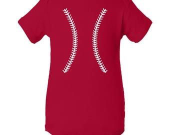 Baseball Team Colors Creeper - Red/White