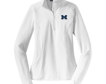 Michigan Wolverines Primary Logo Left Chest Ladies Stretch Quarter Zip Pullover