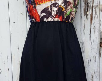 Horror Movie Black Dress - Size 10 12 14 - Vampire Werewolf Skater Rockabilly