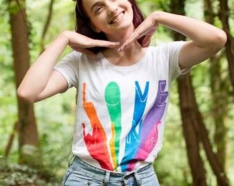 Hand Painted Love Wins Organic T-shirt