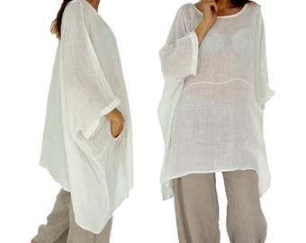 HZ800W ladies tunic poncho blouse linen gauze layered look one size white Gr. 42, 44, 46, 48, 50, 52, 54