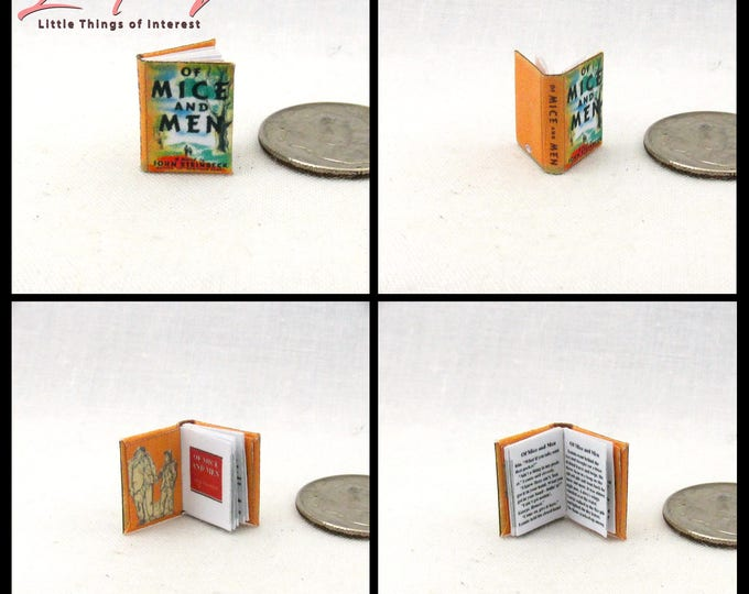 1:24 Scale Book Of MICE AND MEN Miniature Book Dollhouse 1/2 Half Scale by John Steinbeck