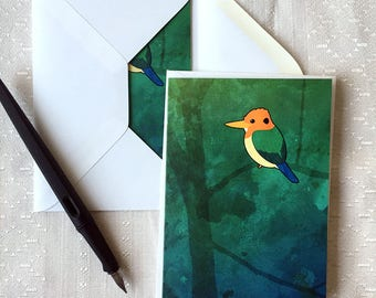 Yellow-billed Kingfisher – Blank Notecards for Bird Lovers with Envelopes, Set of 2 or 4