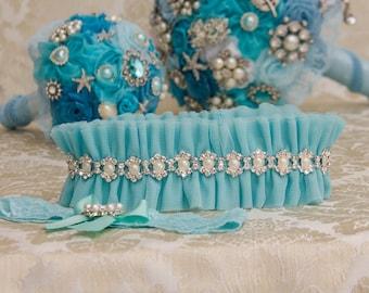 Aqua Blue Wedding Garter Set, Aqua Bridal Garter Set, Aqua Blue Tulle Garter, Tulle Wedding Garter, Pearl Garter, Something Blue
