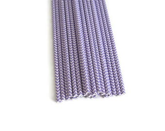 Light Purple Paper Straws 25 Count | Light Purple Chevron Paper Straws | Purple Chevron Straws |  Purple Party Straws | Lilac Paper Straws
