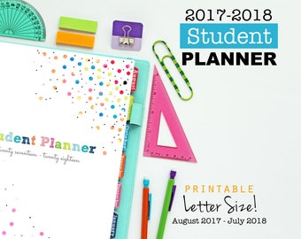 2017-2018 Student Planner, Printable Inserts, Planner Pages - Dated August 2017 - July 2018, Agenda, School Planner, Academic Year