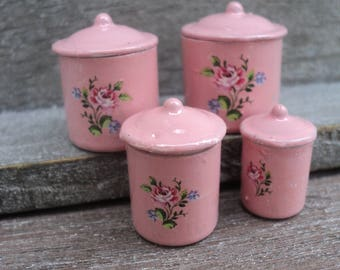 """Dollhouse miniature canister set in enemal pastel pink in 1"""" or 1:12 scale"""