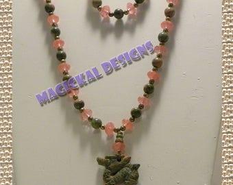 CHERRY MYTH DRAGON Necklace, Bracelet, Earrings Set- dragon, pendant, unakite, cherry quartz, gemstone, fishhook clasp, adjustable, extender