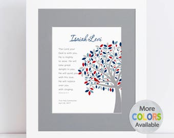 Boy Baptism Gift w Bible Verse, Personalized Christening Gift, Dedication Gift, Tree PRINT, Zephaniah 3:17 Lord is with you, Unique Gift