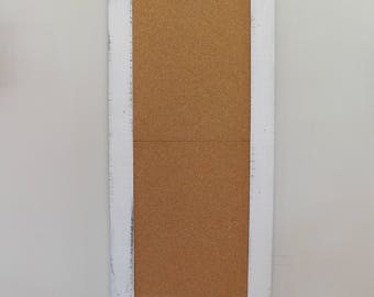 White EXTRA LARGE CORKBOARD - Long Bulletin Board - Long and Skinny - Rustic & Distressed - 24 x 54 - Choose Color