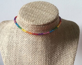 Rainbow colored choker