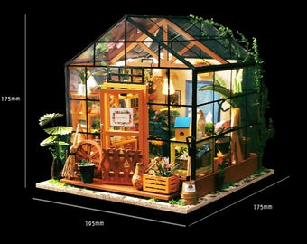 Flower house with Light * DIY Handcraft Miniature Project * Dollhouse Kit* 1:24 miniature dollhouse