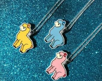 Alpaca necklace, llama necklace, cute necklace, alpaca jewellery, girls necklace, yellow alpaca, pink alpaca, blue alpaca, kawaii necklace