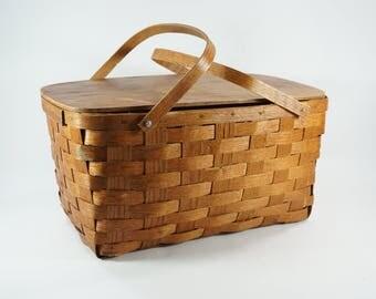 Peterboro Basket, Split Oak Picnic Basket, Vintage Handwoven USA Made Basket w/ Hard Top, Handled Basket, Display Basket, Slight Damage