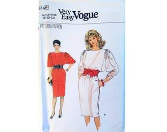 "Vogue 80's Very Easy Vogue 8734 Pullover Jumper Dress Dolman Raglan Sleeve Sewing Pattern Sizes Bust 31.5"" 32.5"" 34"" UK 8 10 12"