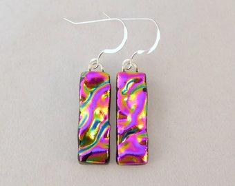 Pink Dichroic Fused Glass Dangle Earrings, Fused Glass, Fused Glass Earrings, Glass Earrings, Dichroic Earrings, Dangle Earrings, Pink