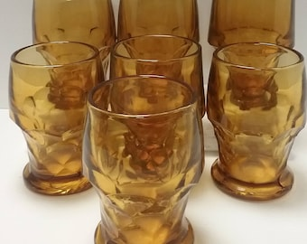 Set of 7 Amber Thumbprint 12 oz Glasses