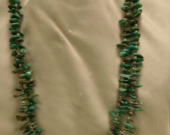 Old Pawn Turquoise & Heishi Double Strand Necklace, Estate Jewelry, Heishi Necklaces, Turqoise Necklaces, Southwestern Jewelry