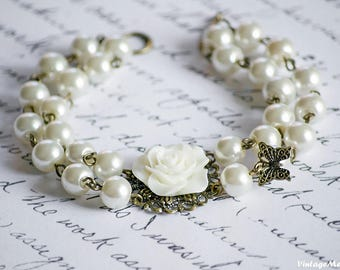 Double Strand Bracelet, Flower Girl Bracelet, Pearl Bracelet, Butterfly Bracelet, Flower Girl jewelry, Ivory Jewelry, Wedding jewellery