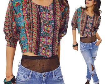Vintage 80s Paris Blues Contempo Casuals Floral Paisley Crop Top Blouse Shirt
