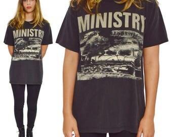 Vintage 90s Ministry Casey's Last Ride Industrial Metal T Shirt Sz L