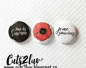 """3 Badges 1"""" Jour du souvenir"""