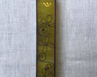 HANDMADE MEZUZAH CASE Special yellow with Filligree.Stained Glass.Wall Hanging.