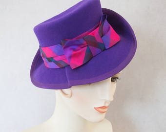 1940s Style Purple Tilt Hat. Vintage inspired percher fedora. Ultra violet wool felt hat, pink silk ribbon. His Girl Friday ladies millinery