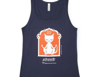 YOGA KITTY Cat T-shirt Tank Top Flowy Navy Blue Size L