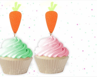 12 Glitter Carrot Easter Cupcake Toppers - Easter Cupcake Toppers, Easter decor, Carrot cake toppers, Carrot cupcakes, Easter Party Decor