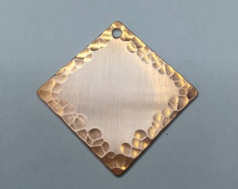 1 1/2 inch square copper stamping blank with hammered edge - Qty 5- 18 gauge