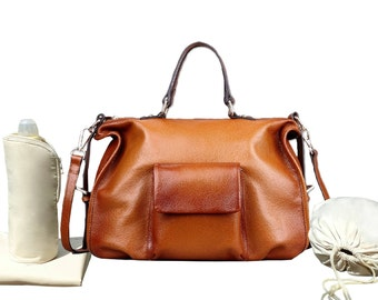 Medium Size Genuine Leather  Shoulder Tote Diaper Bag,  Changing Mat, Diapers Drawstring Sac, Insulated Bottle Holder, stroller straps
