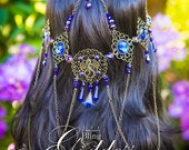 Draconian Sapphire Circlet, crown, festival, cosplay, headpiece, costume, fairy, queen, Cochella, wedding, burning man, saphire, dragon