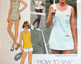 "Vintage Simplicity Tennis Dress Sewing Pattern no 7334 Size 7 / 8 Bust 29"" 74cm Teen Retro 1976 Sportswear Shorts"